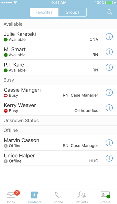PatientTouch - Available Care Team List Screenshot