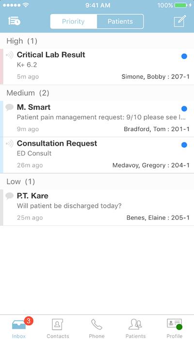 PatientTouch - Inbox Screenshot