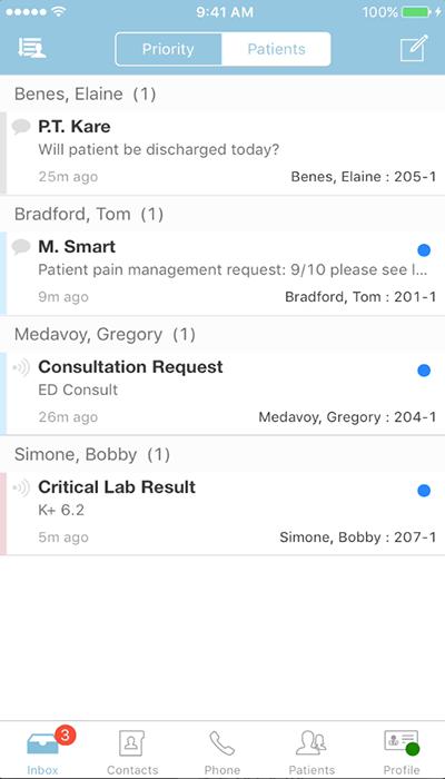 PatientTouch - Unread Message Screenshot