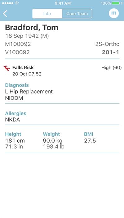 PatientTouch - Patient Overview Screenshot