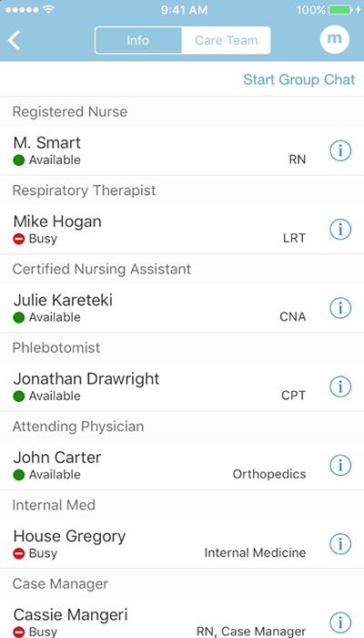 PatientTouch - Clinical Team Availability Screenshot
